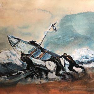 Pescadores y tormenta