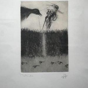 Grillo y pájaro