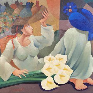 La vendedora y el pajaro azul