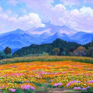 Campo con Flores al pie del Volcan